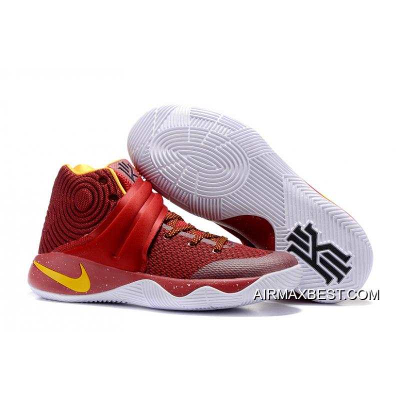 28cbd1ebc0f7 Big Deals Girls Nike Kyrie 2 Cav Wine Red Yellow ...