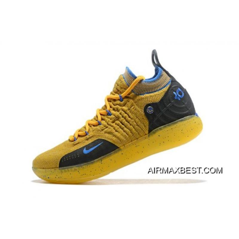 Kevin Durant s Nike KD 11 Yellow Black-Blue Shoes Free Shipping Buy Now ... 399479e84b6