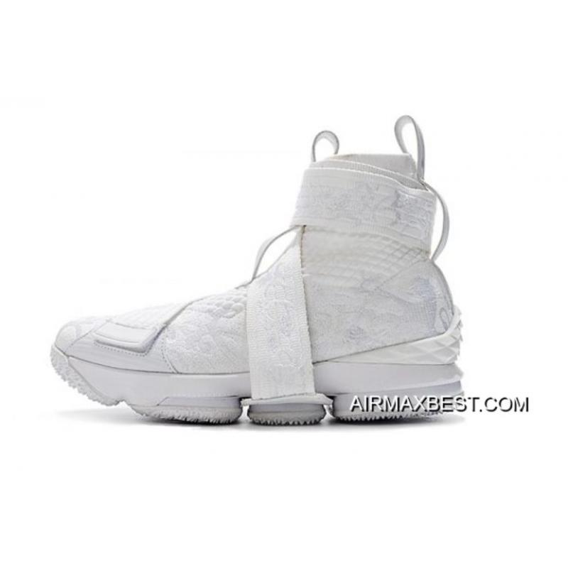 "6fa2611dc9d KITH X Nike LeBron 15 Lifestyle City Of Angels ""Triple White"" Men s  Basketball Shoes ..."