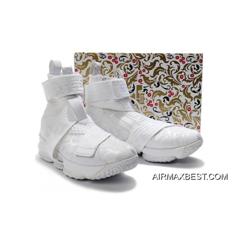"""2440444cfd149 ... KITH X Nike LeBron 15 Lifestyle City Of Angels """"Triple White"""" Men s  Basketball Shoes ..."""