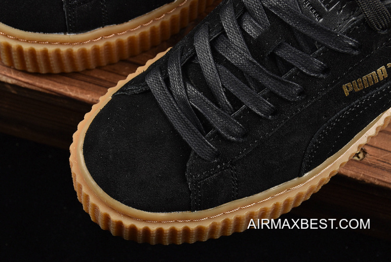 reputable site 4b56f 01650 New Year Deals Puma Rihanna Original Be Suede Creepers-Flatform Shoes Black  Brown In 361005-02